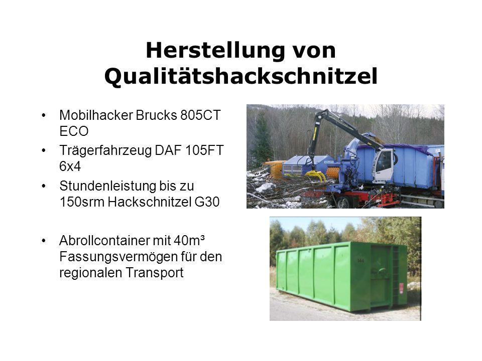 Herstellung von Qualitätshackschnitzel Mobilhacker Brucks 805CT ECO Trägerfahrzeug DAF 105FT 6x4 Stundenleistung bis zu 150srm Hackschnitzel G30 Abrol