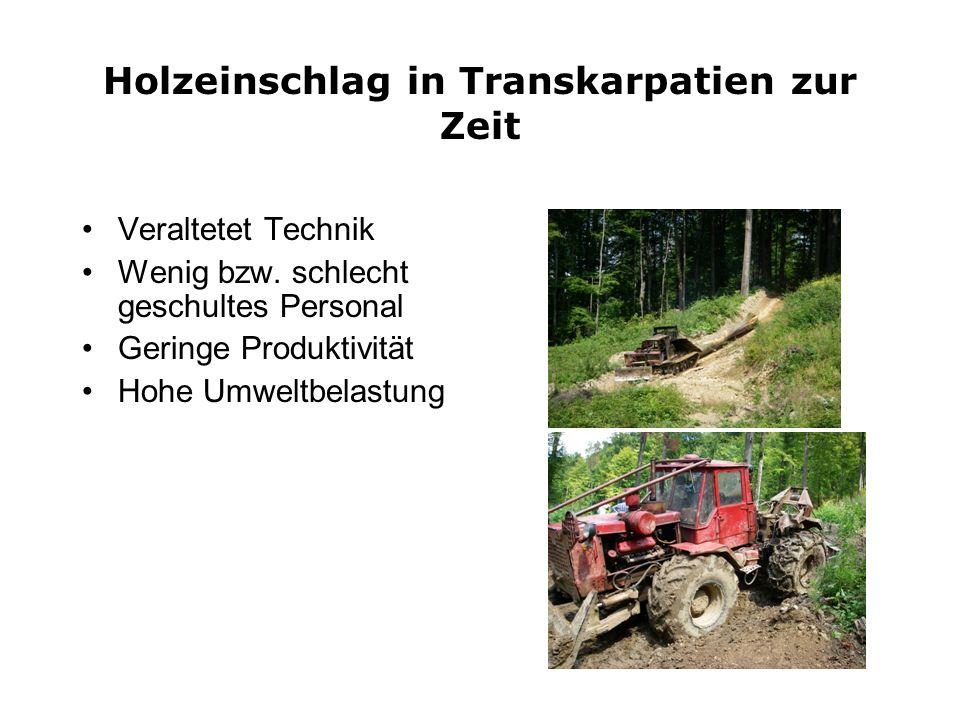 Holzeinschlag in Transkarpatien zur Zeit Veraltetet Technik Wenig bzw. schlecht geschultes Personal Geringe Produktivität Hohe Umweltbelastung