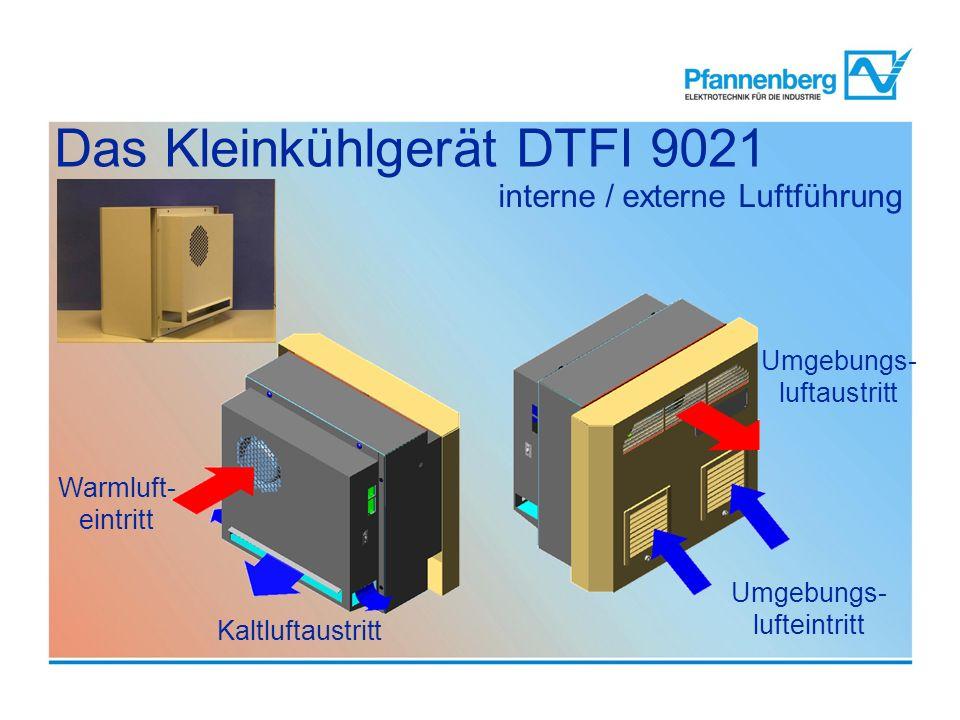 interne / externe Luftführung Warmluft- eintritt Kaltluftaustritt Umgebungs- luftaustritt Umgebungs- lufteintritt Das Kleinkühlgerät DTFI 9021