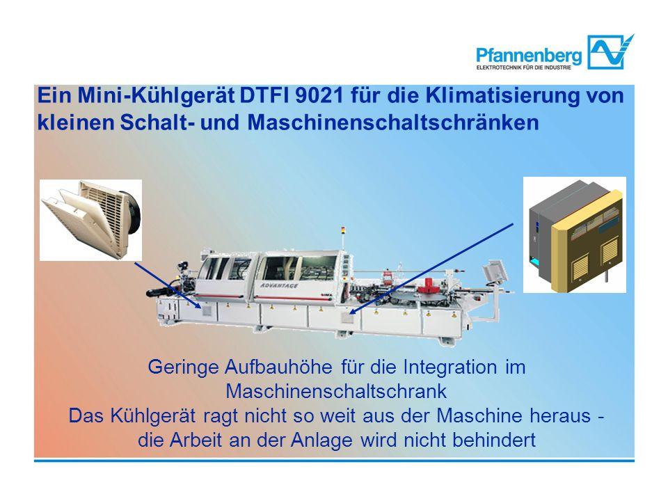 Ein Mini-Kühlgerät DTFI 9021 für die Klimatisierung von kleinen Schalt- und Maschinenschaltschränken Geringe Aufbauhöhe für die Integration im Maschin