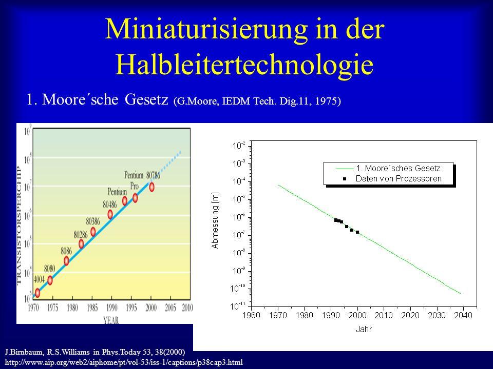 Miniaturisierung in der Halbleitertechnologie 1. Moore´sche Gesetz (G.Moore, IEDM Tech.
