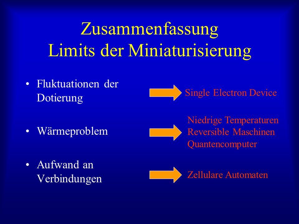 Zusammenfassung Limits der Miniaturisierung Fluktuationen der Dotierung Wärmeproblem Aufwand an Verbindungen Single Electron Device Niedrige Temperaturen Reversible Maschinen Quantencomputer Zellulare Automaten