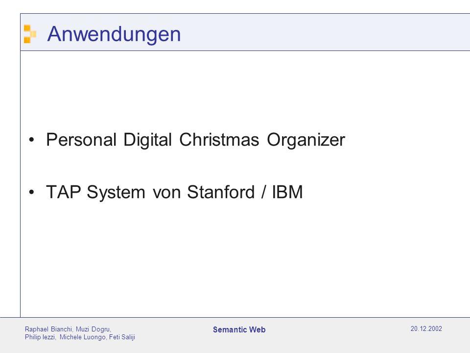 20.12.2002 Raphael Bianchi, Muzi Dogru, Philip Iezzi, Michele Luongo, Feti Saliji Semantic Web Anwendungen Personal Digital Christmas Organizer TAP System von Stanford / IBM