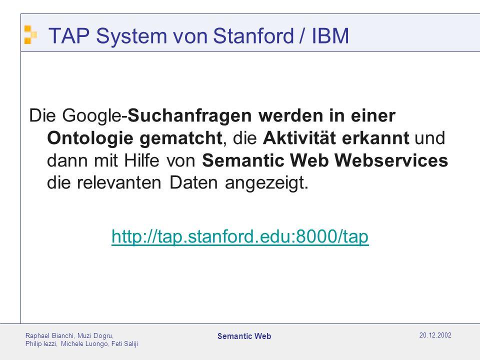 20.12.2002 Raphael Bianchi, Muzi Dogru, Philip Iezzi, Michele Luongo, Feti Saliji Semantic Web TAP System von Stanford / IBM Die Google-Suchanfragen werden in einer Ontologie gematcht, die Aktivität erkannt und dann mit Hilfe von Semantic Web Webservices die relevanten Daten angezeigt.