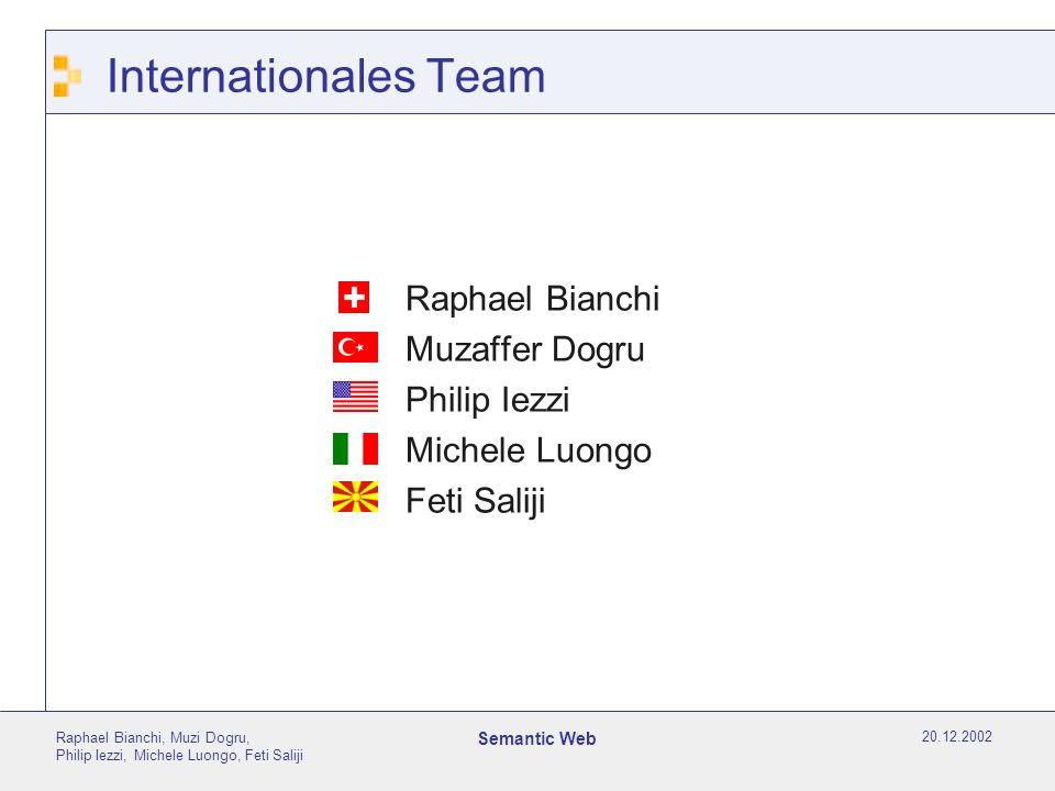 20.12.2002 Raphael Bianchi, Muzi Dogru, Philip Iezzi, Michele Luongo, Feti Saliji Semantic Web Zielsetzung des Vortrages Das Publikum erhält einen groben Überblick über die Idee des Semantic Web.
