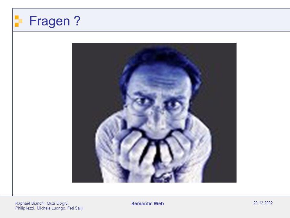 20.12.2002 Raphael Bianchi, Muzi Dogru, Philip Iezzi, Michele Luongo, Feti Saliji Semantic Web Fragen