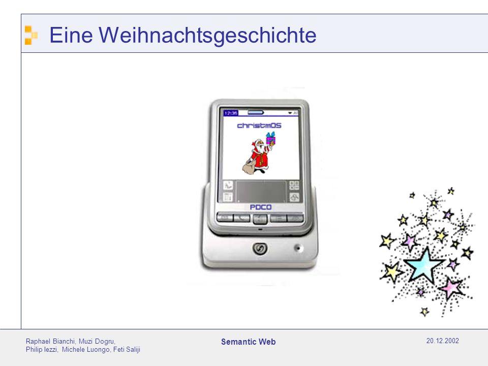 20.12.2002 Raphael Bianchi, Muzi Dogru, Philip Iezzi, Michele Luongo, Feti Saliji Semantic Web Überblick Der Computer wird heute im Internet nur zur Darstellung von Informationen benutzt.