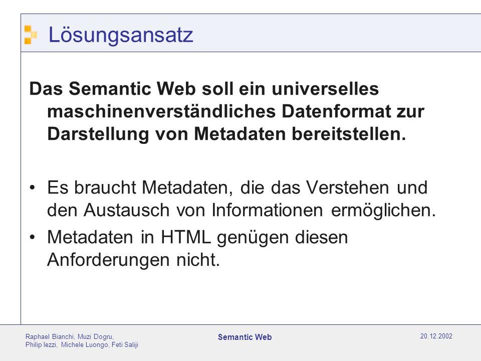 20.12.2002 Raphael Bianchi, Muzi Dogru, Philip Iezzi, Michele Luongo, Feti Saliji Semantic Web Lösungsansatz Das Semantic Web soll ein universelles maschinenverständliches Datenformat zur Darstellung von Metadaten bereitstellen.