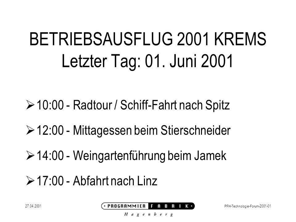 27.04.2001PFH-Technologie-Forum-2001-01 PFH-FIT FIRMEN-INTERN-TRAINING Erste Workshop-Reihe: JAVA-Grundlagen Inhalt OO-Konzepte Grundlagen (Virtuelle Maschine, Plattform,...) Basis-Klassen und Sprache Client-Entwicklung mit Java