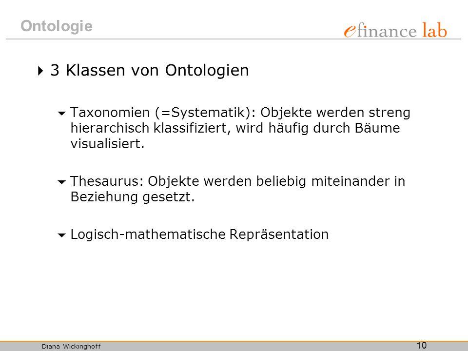 Diana Wickinghoff 10 Ontologie 3 Klassen von Ontologien Taxonomien (=Systematik): Objekte werden streng hierarchisch klassifiziert, wird häufig durch