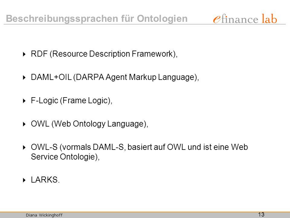 Diana Wickinghoff 13 Beschreibungssprachen für Ontologien RDF (Resource Description Framework), DAML+OIL (DARPA Agent Markup Language), F-Logic (Frame