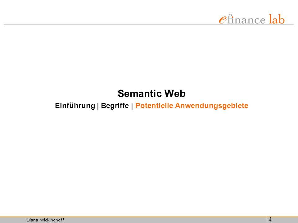 Diana Wickinghoff 14 Semantic Web Einführung | Begriffe | Potentielle Anwendungsgebiete