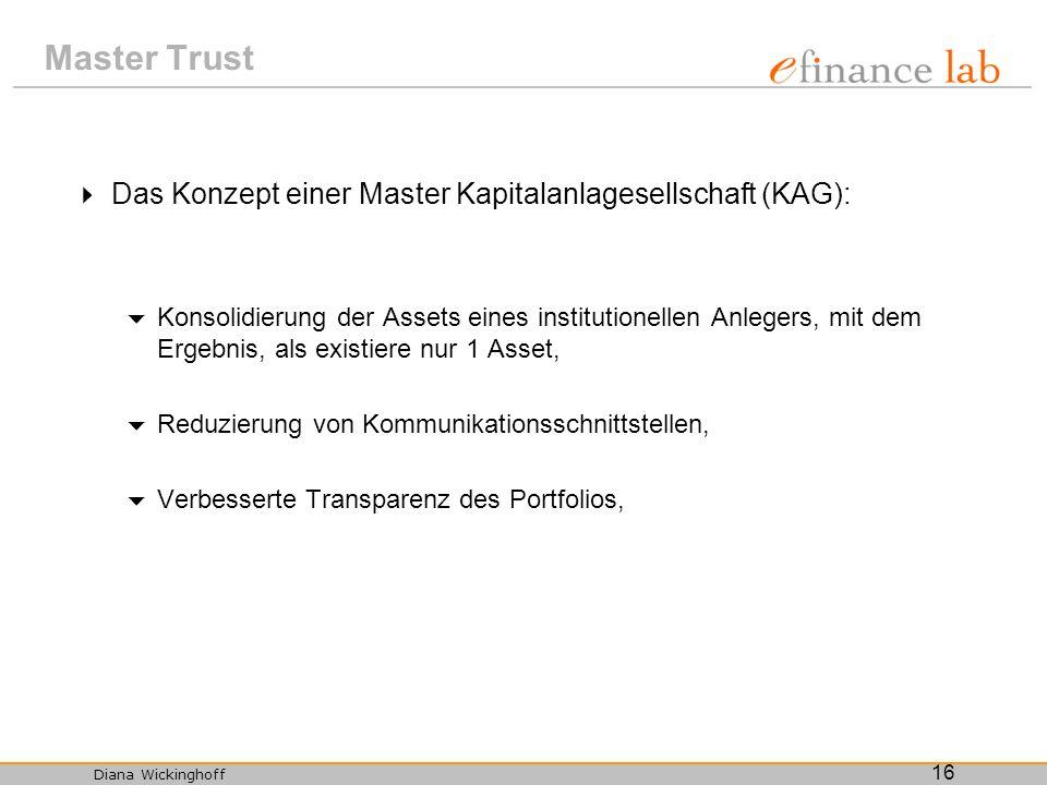 Diana Wickinghoff 16 Master Trust Das Konzept einer Master Kapitalanlagesellschaft (KAG): Konsolidierung der Assets eines institutionellen Anlegers, m
