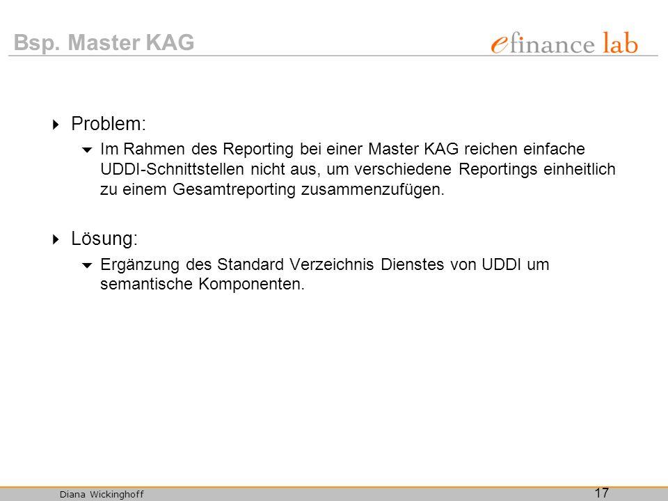 Diana Wickinghoff 17 Bsp. Master KAG Problem: Im Rahmen des Reporting bei einer Master KAG reichen einfache UDDI-Schnittstellen nicht aus, um verschie
