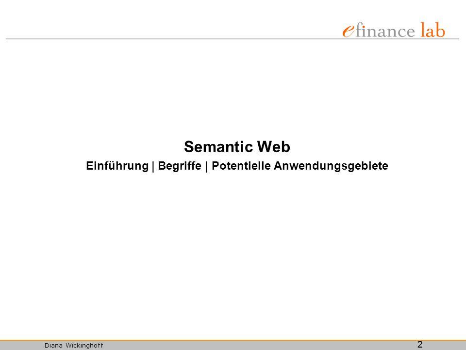 Diana Wickinghoff 13 Beschreibungssprachen für Ontologien RDF (Resource Description Framework), DAML+OIL (DARPA Agent Markup Language), F-Logic (Frame Logic), OWL (Web Ontology Language), OWL-S (vormals DAML-S, basiert auf OWL und ist eine Web Service Ontologie), LARKS.