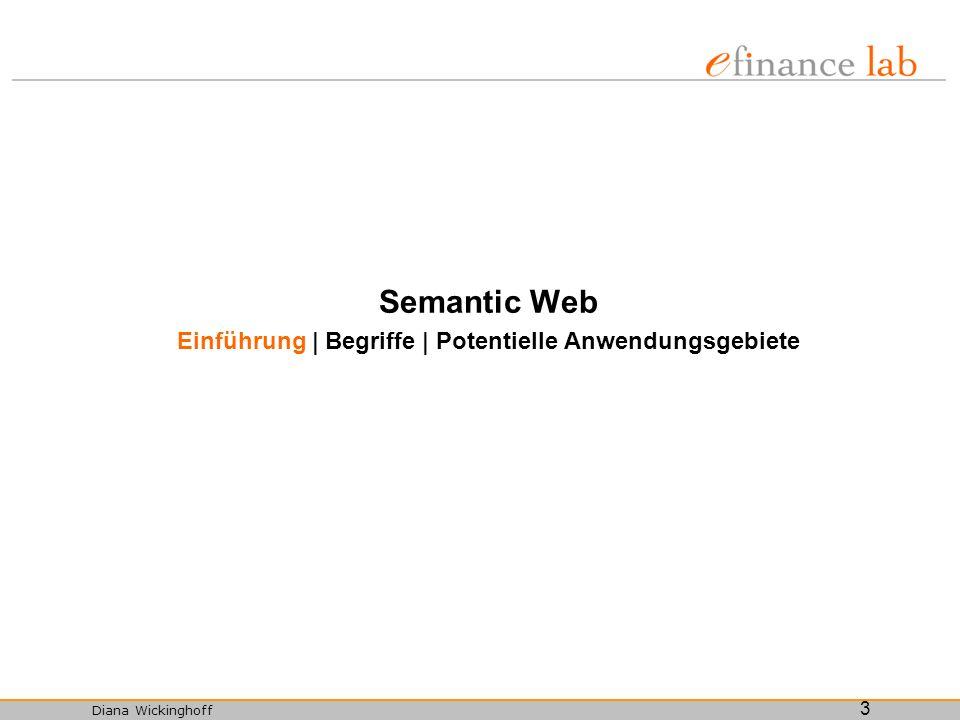 Diana Wickinghoff 3 Semantic Web Einführung | Begriffe | Potentielle Anwendungsgebiete