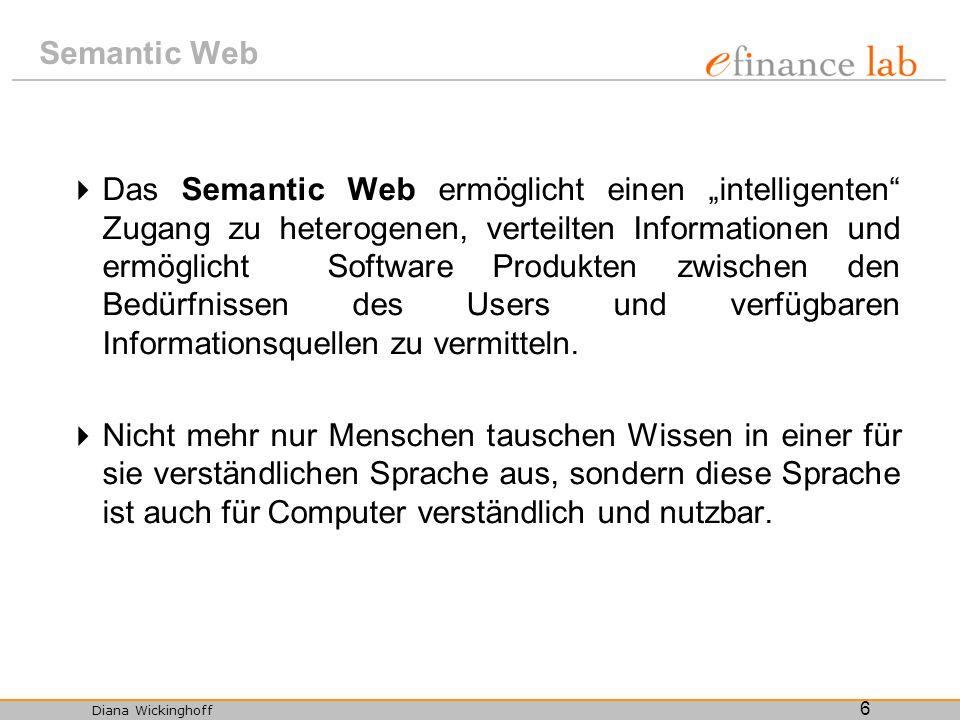 Diana Wickinghoff 6 Semantic Web Das Semantic Web ermöglicht einen intelligenten Zugang zu heterogenen, verteilten Informationen und ermöglicht Softwa