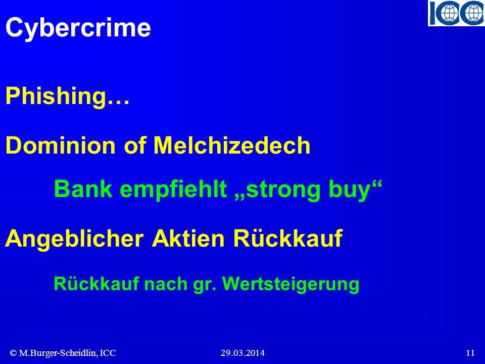 © M.Burger-Scheidlin, ICC29.03.201411 Cybercrime Phishing… Dominion of Melchizedech Bank empfiehlt strong buy Angeblicher Aktien Rückkauf Rückkauf nac