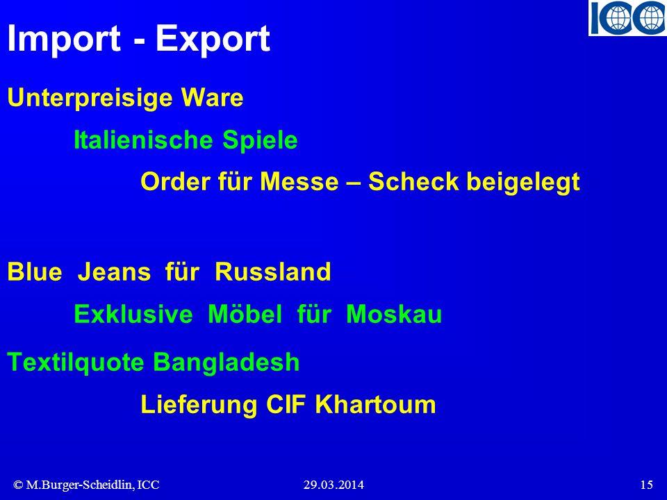 © M.Burger-Scheidlin, ICC29.03.201415 Import - Export Unterpreisige Ware Italienische Spiele Order für Messe – Scheck beigelegt Blue Jeans für Russland Exklusive Möbel für Moskau Textilquote Bangladesh Lieferung CIF Khartoum