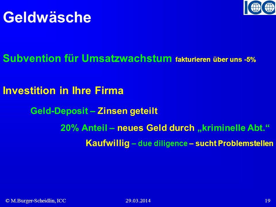 © M.Burger-Scheidlin, ICC29.03.201419 Geldwäsche Subvention für Umsatzwachstum fakturieren über uns -5% Investition in Ihre Firma Geld-Deposit – Zinse