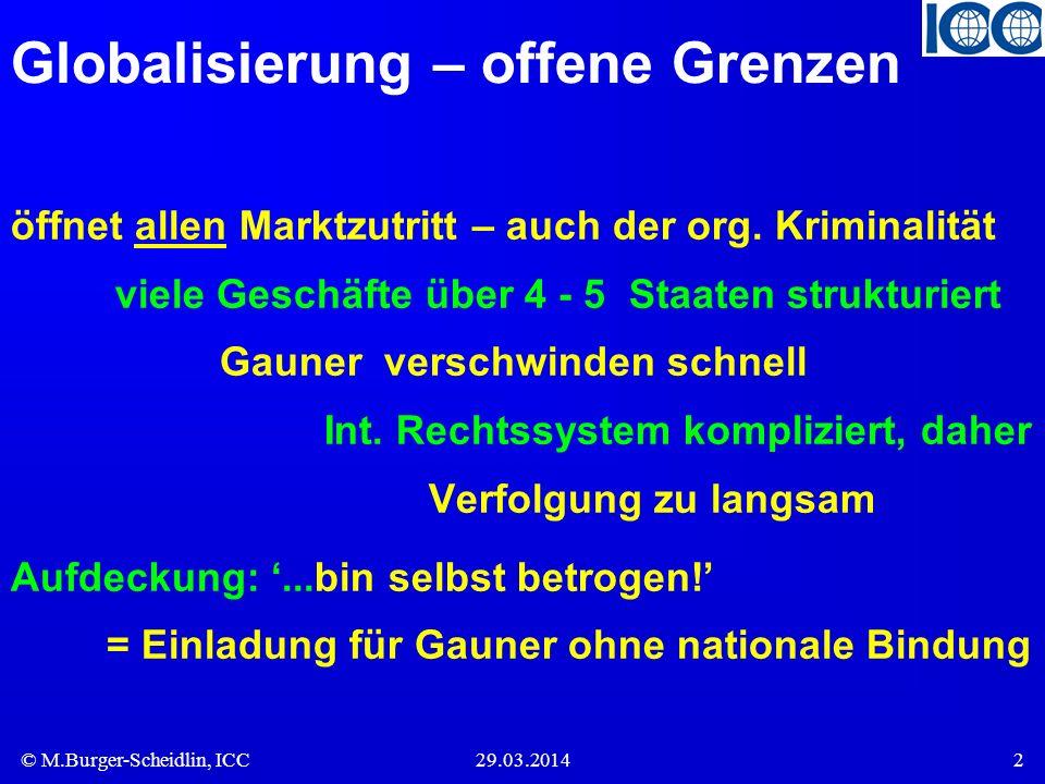 © M.Burger-Scheidlin, ICC29.03.20142 Globalisierung – offene Grenzen öffnet allen Marktzutritt – auch der org. Kriminalität viele Geschäfte über 4 - 5