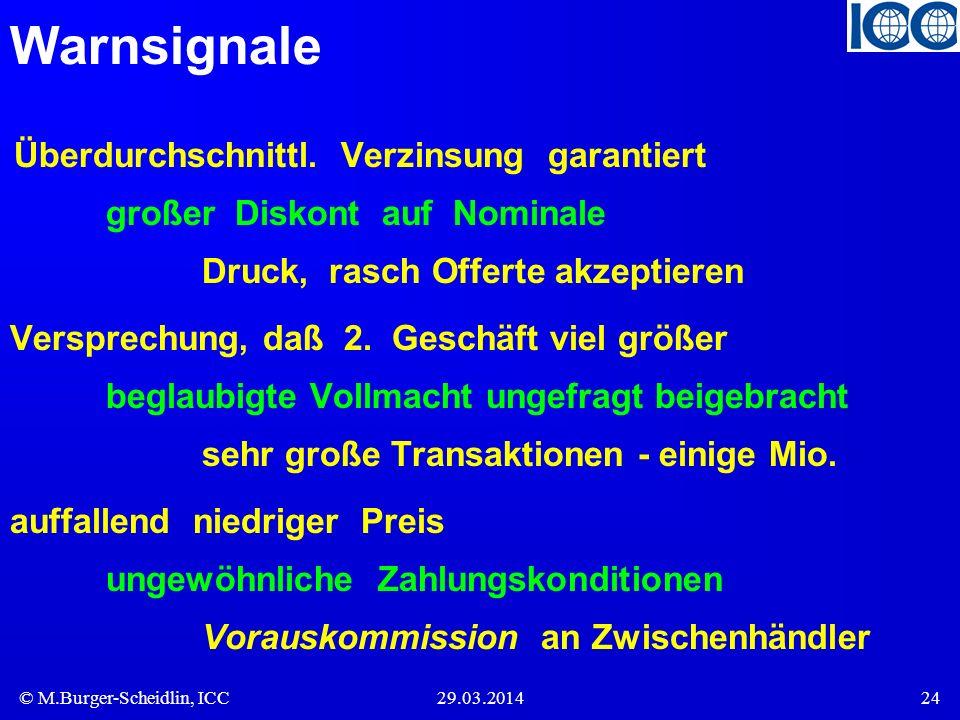 © M.Burger-Scheidlin, ICC29.03.201424 Warnsignale Überdurchschnittl. Verzinsung garantiert großer Diskont auf Nominale Druck, rasch Offerte akzeptiere