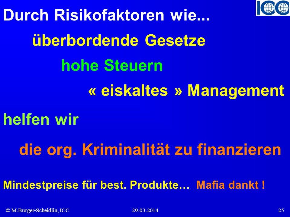 © M.Burger-Scheidlin, ICC29.03.201425 Durch Risikofaktoren wie... überbordende Gesetze hohe Steuern « eiskaltes » Management helfen wir die org. Krimi