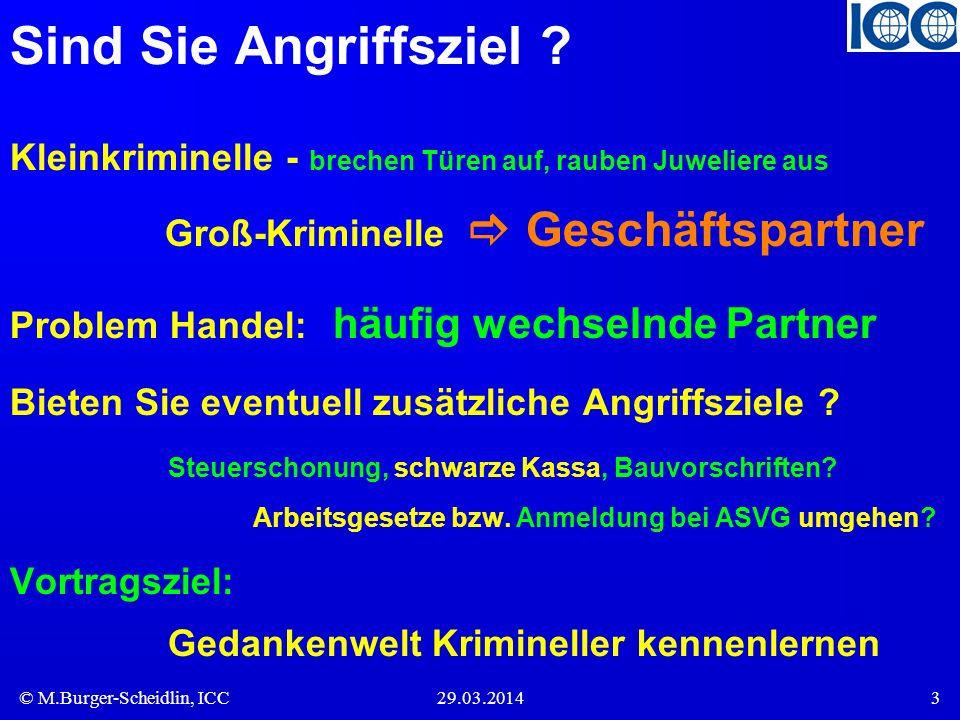 © M.Burger-Scheidlin, ICC29.03.20143 Sind Sie Angriffsziel ? Kleinkriminelle - brechen Türen auf, rauben Juweliere aus Groß-Kriminelle Geschäftspartne
