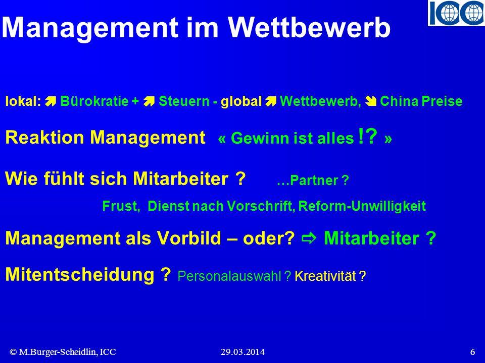 © M.Burger-Scheidlin, ICC29.03.20146 Management im Wettbewerb lokal: Bürokratie + Steuern - global Wettbewerb, China Preise Reaktion Management « Gewi