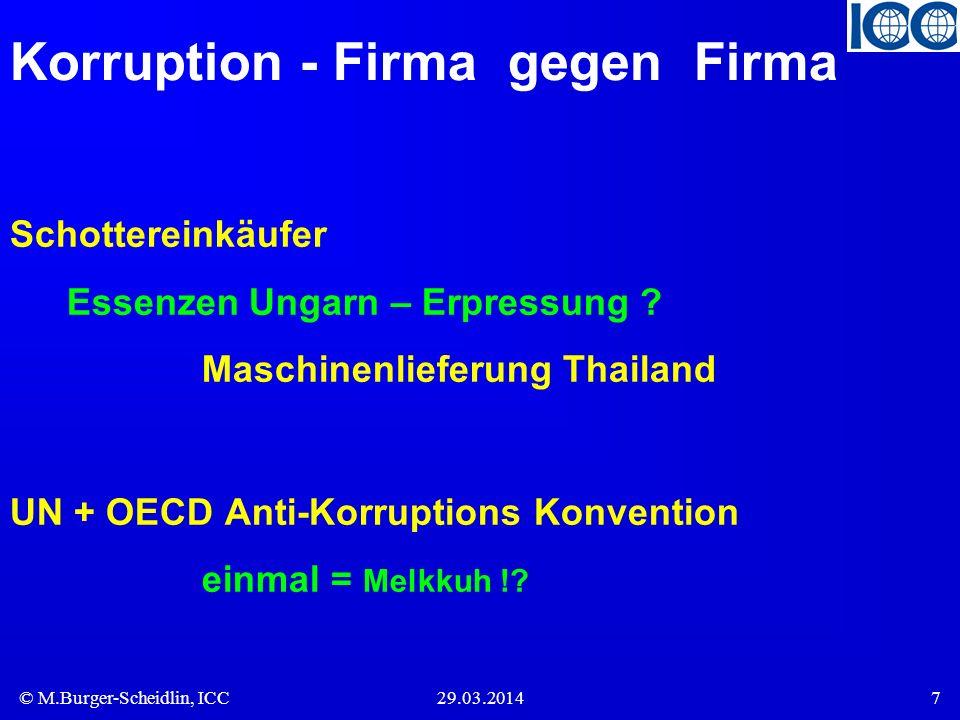 © M.Burger-Scheidlin, ICC29.03.20147 Korruption - Firma gegen Firma Schottereinkäufer Essenzen Ungarn – Erpressung ? Maschinenlieferung Thailand UN +