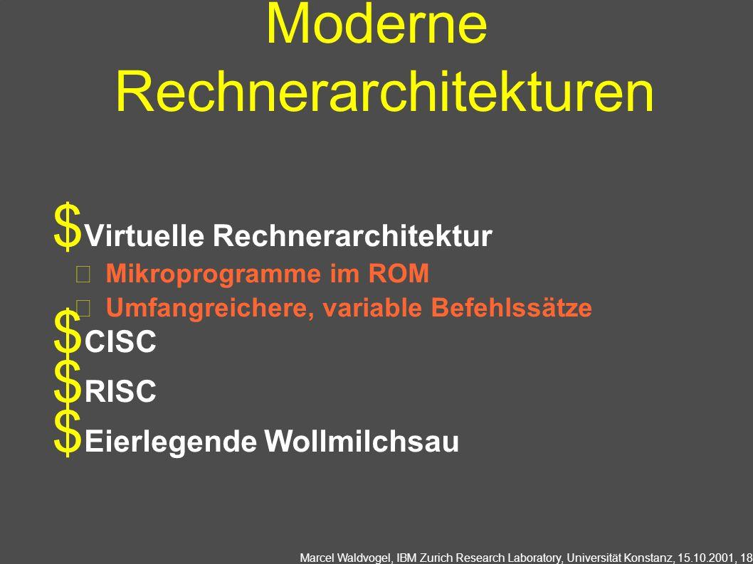 Marcel Waldvogel, IBM Zurich Research Laboratory, Universität Konstanz, 15.10.2001, 18 Moderne Rechnerarchitekturen Virtuelle Rechnerarchitektur Mikroprogramme im ROM Umfangreichere, variable Befehlssätze CISC RISC Eierlegende Wollmilchsau