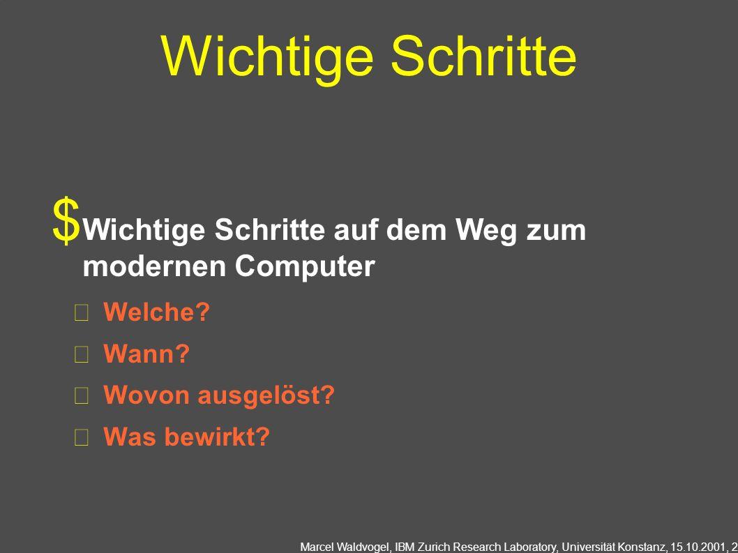 Marcel Waldvogel, IBM Zurich Research Laboratory, Universität Konstanz, 15.10.2001, 3 Knochenritzen (~20000 v.