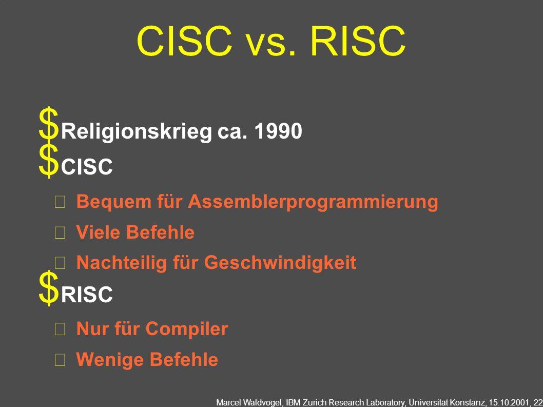 Marcel Waldvogel, IBM Zurich Research Laboratory, Universität Konstanz, 15.10.2001, 22 CISC vs.