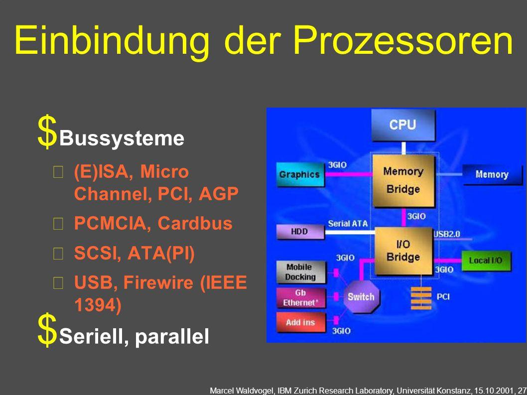 Marcel Waldvogel, IBM Zurich Research Laboratory, Universität Konstanz, 15.10.2001, 27 Einbindung der Prozessoren Bussysteme (E)ISA, Micro Channel, PCI, AGP PCMCIA, Cardbus SCSI, ATA(PI) USB, Firewire (IEEE 1394) Seriell, parallel