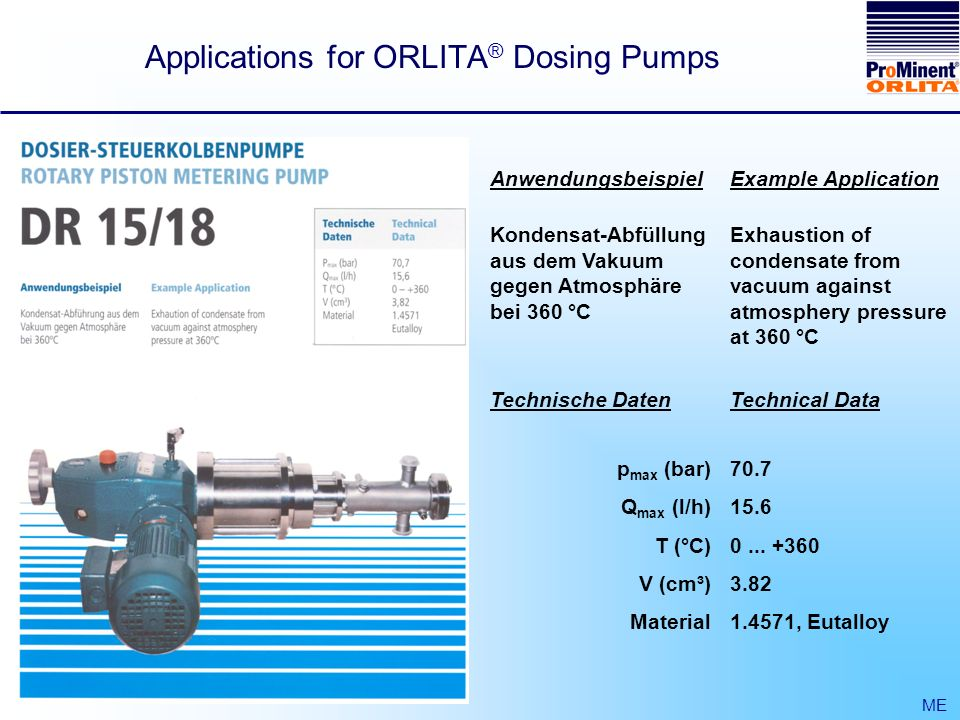 Applications for ORLITA ® Dosing Pumps ME Anwendungsbeispiel Kondensat-Abfüllung aus dem Vakuum gegen Atmosphäre bei 360 °C Example Application Exhaustion of condensate from vacuum against atmosphery pressure at 360 °C Technische Daten p max (bar) Q max (l/h) T (°C) V (cm³) Material Technical Data 70.7 15.6 0...