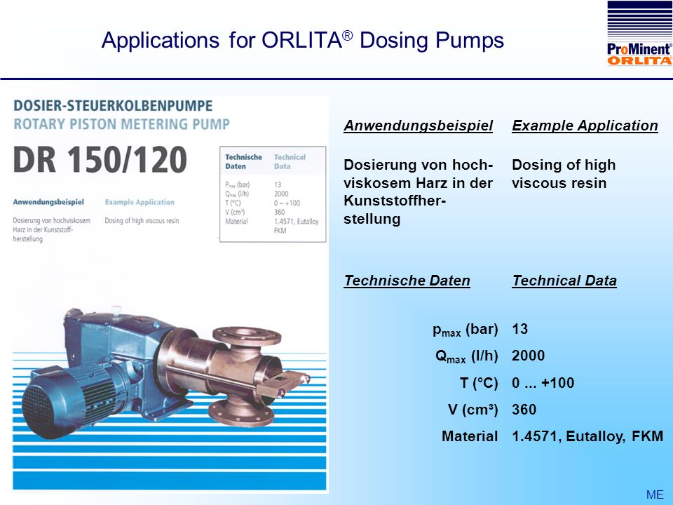 Applications for ORLITA ® Dosing Pumps ME Anwendungsbeispiel Dosierung von hoch- viskosem Harz in der Kunststoffher- stellung Example Application Dosing of high viscous resin Technische Daten p max (bar) Q max (l/h) T (°C) V (cm³) Material Technical Data 13 2000 0...