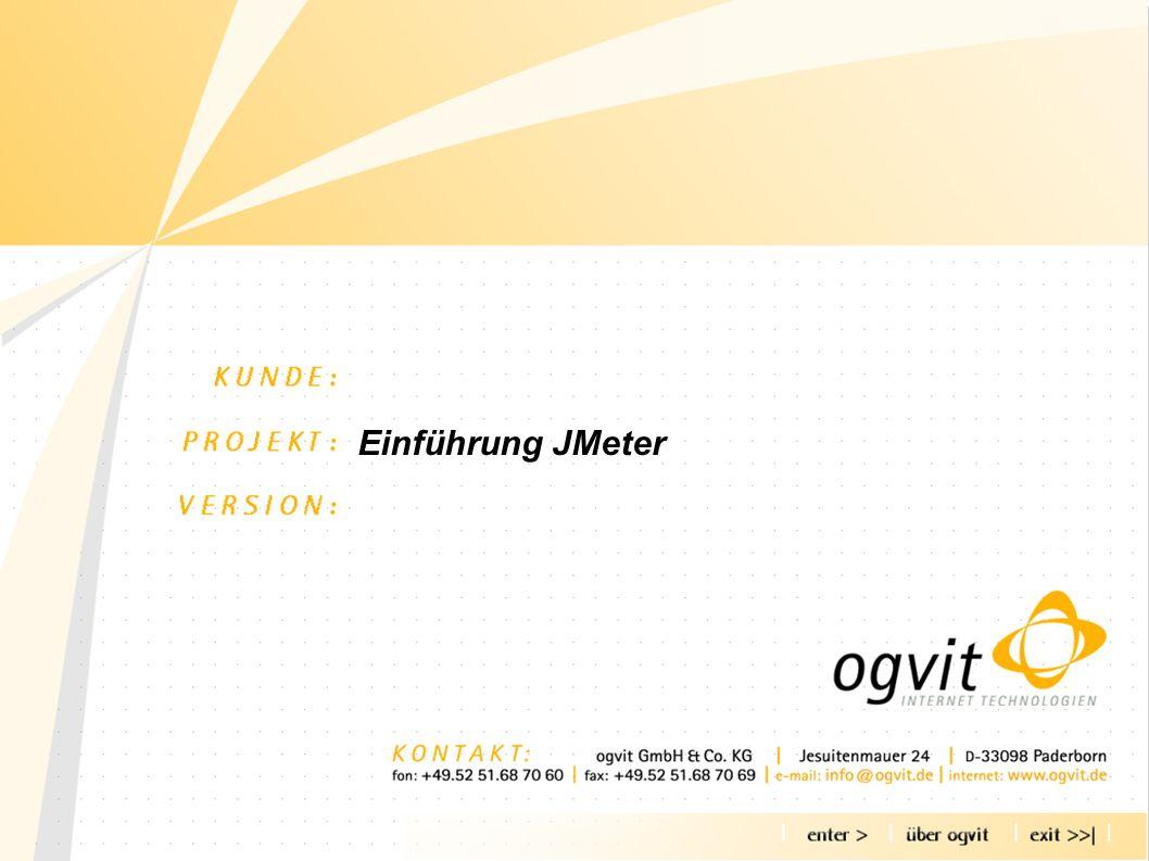 Agenda - über OGVIT - Warum Lasttests - Was ist JMeter - Wie arbeitet JMeter - Skripte für JMeter - Tests planen - Testen - Ergebnisse analysieren - Beispiel