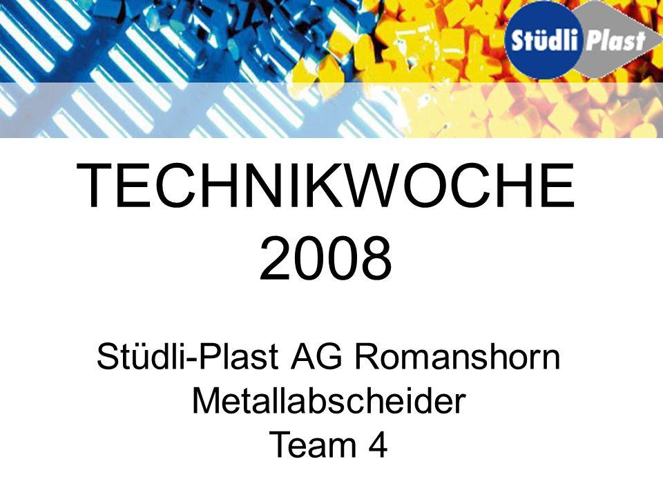 Inhalt Stüdli-Plast AG Aufgabenstellung Vorgehensweise Metallabscheider Auswertung