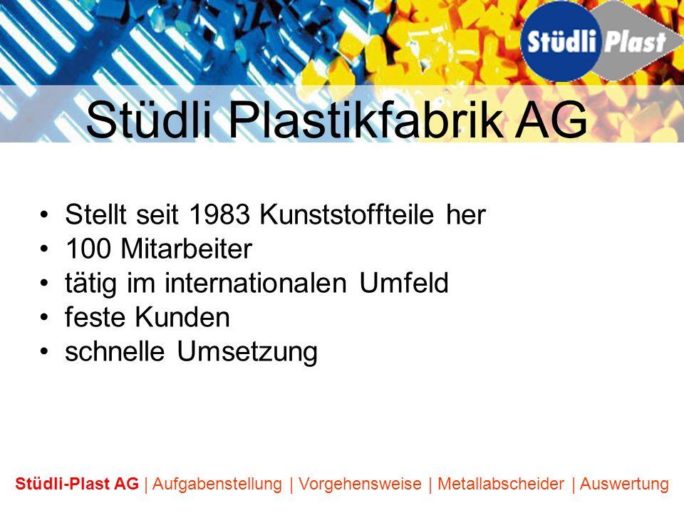 Stellt seit 1983 Kunststoffteile her 100 Mitarbeiter tätig im internationalen Umfeld feste Kunden schnelle Umsetzung Stüdli Plastikfabrik AG Stüdli-Pl
