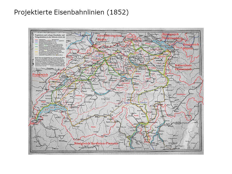 Projektierte Eisenbahnlinien (1852)
