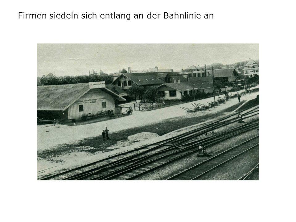Firmen siedeln sich entlang an der Bahnlinie an