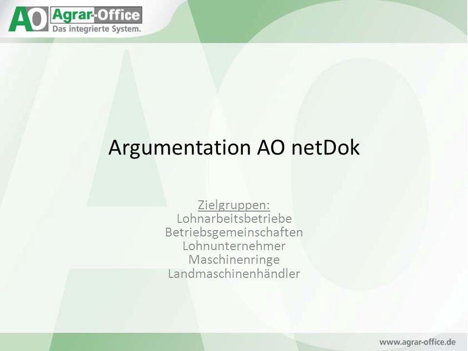Argumentation AO netDok Zielgruppen: Lohnarbeitsbetriebe Betriebsgemeinschaften Lohnunternehmer Maschinenringe Landmaschinenhändler