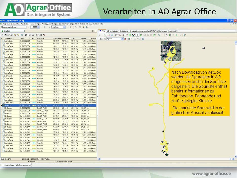 Nach Download von netDok werden die Spurdaten in AO eingelesen und in der Spurliste dargestellt. Die Spurliste enthält bereits Informationen zu Fahrtb