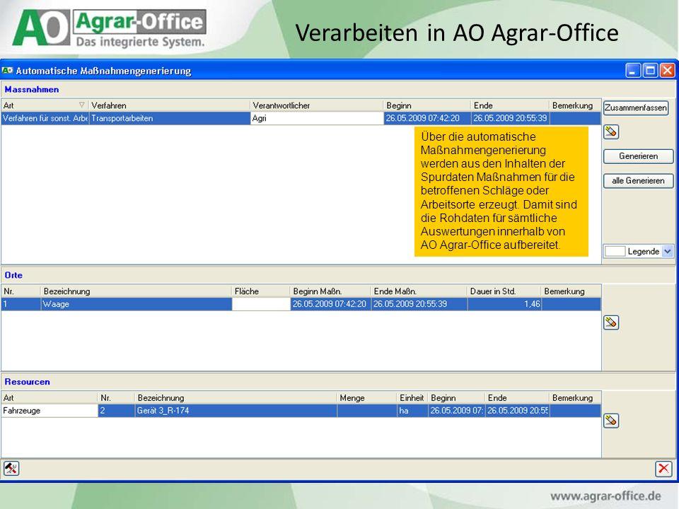 Über die automatische Maßnahmengenerierung werden aus den Inhalten der Spurdaten Maßnahmen für die betroffenen Schläge oder Arbeitsorte erzeugt. Damit