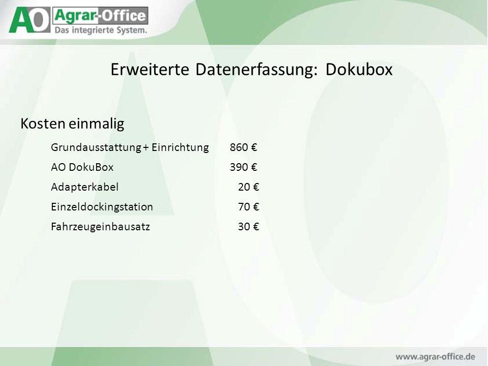 Erweiterte Datenerfassung: Dokubox Kosten einmalig Grundausstattung + Einrichtung860 AO DokuBox390 Adapterkabel 20 Einzeldockingstation 70 Fahrzeugein