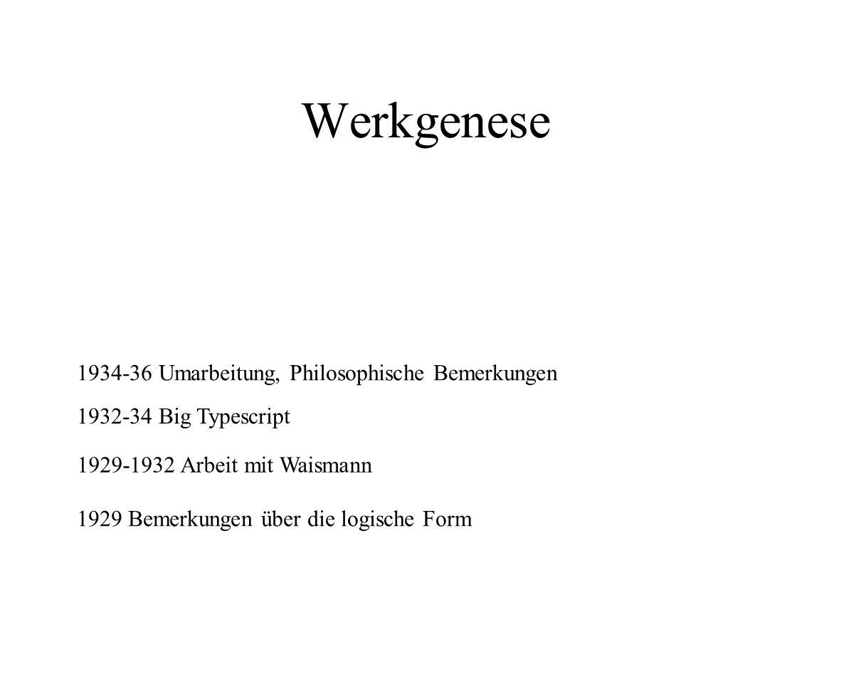 Werkgenese 1929 Bemerkungen über die logische Form 1929-1932 Arbeit mit Waismann 1932-34 Big Typescript 1934-36 Umarbeitung, Philosophische Bemerkunge