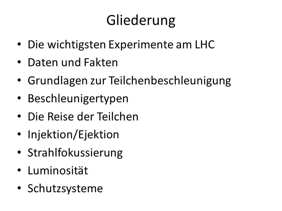 Gliederung Die wichtigsten Experimente am LHC Daten und Fakten Grundlagen zur Teilchenbeschleunigung Beschleunigertypen Die Reise der Teilchen Injektion/Ejektion Strahlfokussierung Luminosität Schutzsysteme