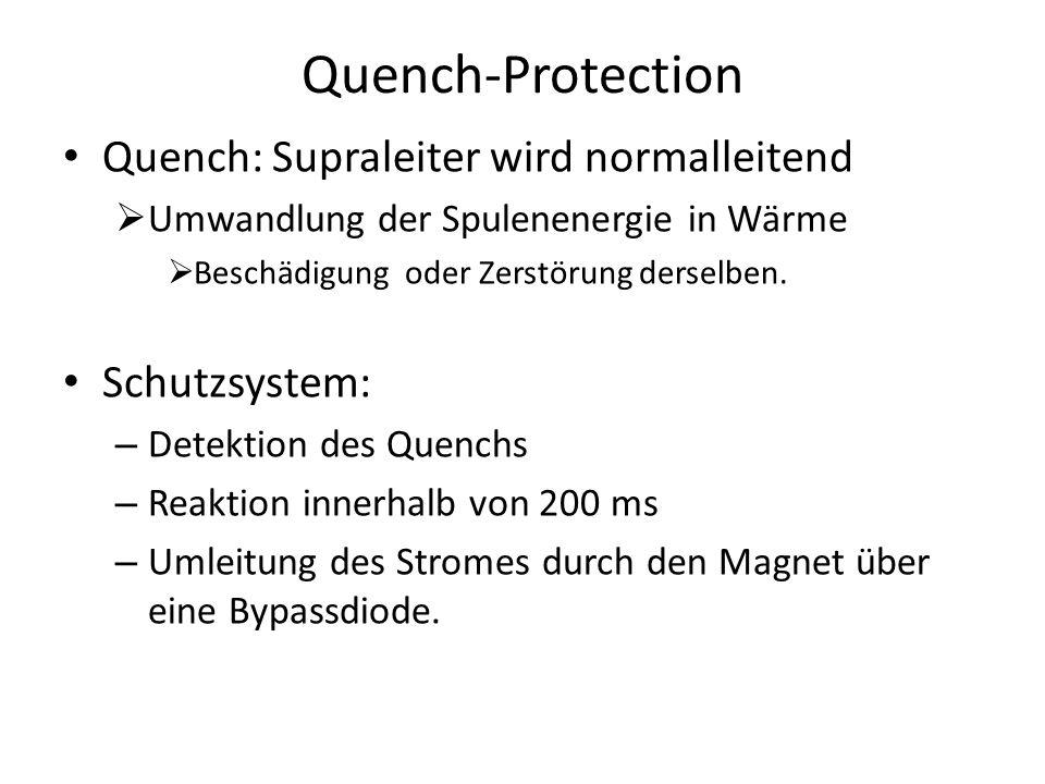 Quench-Protection Quench: Supraleiter wird normalleitend Umwandlung der Spulenenergie in Wärme Beschädigung oder Zerstörung derselben. Schutzsystem: –