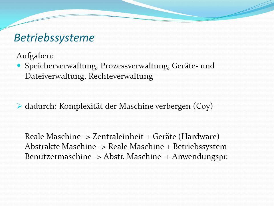 Betriebssysteme Aufgaben: Speicherverwaltung, Prozessverwaltung, Geräte- und Dateiverwaltung, Rechteverwaltung dadurch: Komplexität der Maschine verbe
