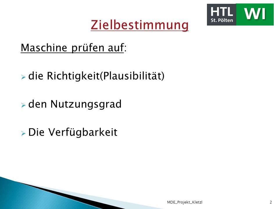 Maschine herausfiltern Ereignisbeginn und Ende festlegen Stillstandsursachen festlegen Zeitüberschneidung Nutzungsgrad Verfügbarkeit MDE_Projekt_Kletzl3